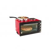 Cuptor electric cu plita DomoClip DOC139, 1400 W, 30 L, 2plite, Rosu/Negru