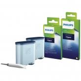 Kit intretinere pentru espressor Philips CA6707/10, 2 filtre AquaClean si tub lubrifiere, 6 plicuri curatare lapte, 6 tablete indepartare ulei