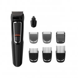 Aparat de tuns barba si parul 8 in 1 Philips MG3730/15, Lame cu ascutire automata, Acumulator, 2 piepteni pentru aspect nebarbierit, 1 pieptane ajustabil pentru barba, 3 piepteni pentru par, Negru