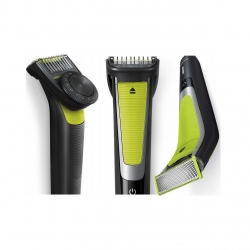 Aparat hibrid de barbierit si tuns barba PHILIPS OneBlade Pro QP6505/21, acumulator, autonomie 60 min, Pieptene cu 9 lungimi, verde