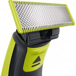 Aparat hibrid de barbierit si tuns barba Philips OneBlade QP2520/30, 3 piepteni, 1 lama suplimentara, Acumulatori, Negru/Verde