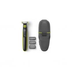 Aparat hibrid de barbierit si tuns barba Philips OneBlade QP2520/65, 3 accesorii, Toc pentru transport, Negru/Verde
