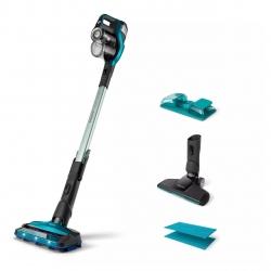 Aspirator vertical si mop Philips SpeedPro Max Aqua 3in1 FC6903/01, 25.2V, autonomie max 75 min, perie cu LED 360°, accesorii integrate, Electric Aqua
