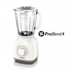 Blender Philips Daily Collection HR2105/00, 400 W, 1.25 l, 2 Viteze, Functie impuls, Alb