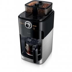 Cafetiera Philips Grind & Brew HD7769/00, 1000 W, vas de sticla, Rasnita de cafea integrata, cronometru, Negru/Metalic
