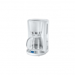 Cafetiera Russell Hobbs Inspire White 24390-56, 1100 W, 1.25 l, Tehnologie WhirlTech, Timer digital, Alb/Crom