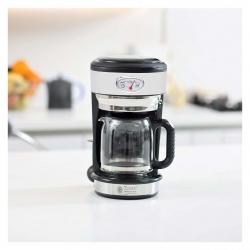 Cafetiera Russell Hobbs Retro Classic Blanc 21703-56, 1000 W, 1,25 l, Tehnologie avansata cu dus, Functie pause and pour, Mentinere la cald, Alb/Inox