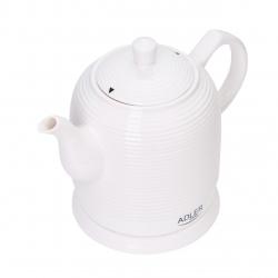 Ceainic Electric Ceramic Adler, Capacitate 1.2L, Baza Rotativa, Oprire Automata, Culoare Alb AD1280