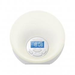 Ceas desteptaror cu radio tip lampa Medisana WL444 45110,  8 Memorii radio, lumina pentru trezire, 7 culori , Alarma, Alb