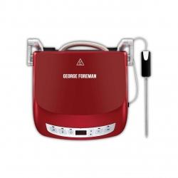 Gratar electric George Foreman Evolve 24001-56, 1440 W, Sonda de temperatura, Plita copt, Placi detasabile, Rosu