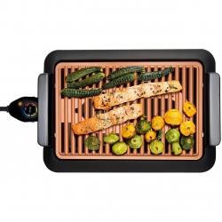 Gratar electric Mediashop Livingtone Smokeless Grill 3336, Tava scurgere, 4 setari de temperatura, 1000W, Nergu/Portocaliu