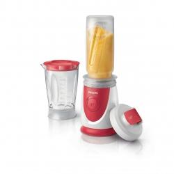Mini blender Philips Daily Collection HR2872/00, 350 W, 0.6 l, 1 Viteza, Rosu/Alb