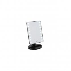 Oglinda iluminata DomoClip DOS153, 16 LED-uri , baza cu depozitare de bijuterii , Negru