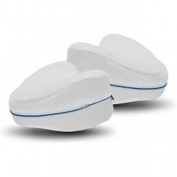 Perna din spuma cu memorie pentru picioare MediaShop, Dreamolino, 25 x 25 x 15 cm, Alb/Albastru