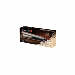 Placa de par Remington S8540 Keratin Protect, placi ceramice, 9 trepte de temperatura, 150°C - 230°C, Display LCD, Bronz/Negru