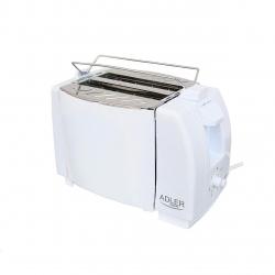 Prajitor de paine ADLER AD 33, 750 W, 2 felii, Grad de rumenire variabil, Alb
