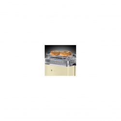 Prajitor de paine Russell Hobbs Retro Vintage Cream 21682-56, 1200 W, 2 felii, Prajire rapida, Gratar pentru chifle, Crem/Inox 21682-56