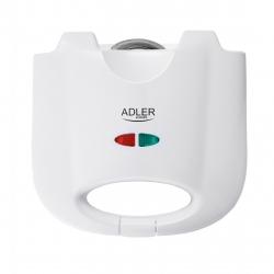 Sandwich maker Adler AD 301, putere 750W, placi non-aderente, Alb