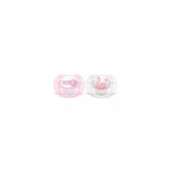 Set 2 suzete Philips-AVENT SCF222/02 Ultra Soft, ultramoale si flexibila, pentru pielea sensibila a bebelusului, ortodontica, 0-6 luni, Roz/Gri