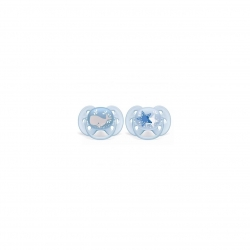 Set 2 suzete Philips-Avent SCF223/03, ultra soft 6-18 luni, Ortodontice, fara BPA, stelute / balena