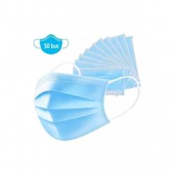 Set 50 bucati Masti de unica folosinta Meirun, 3 straturi , 3 Pliuri,  Prindere prin elasic , Tija metalica, Albastru