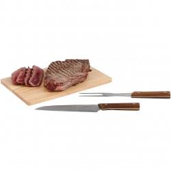 Set barbecue 3 piese BeNomad GS125, Tocator din lemn, Cutit, Furculita