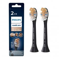 Set de 2 capete Premium All-in-One standard pentru periuţa sonică Philips  HX9092/11, Functie BrushSync, Negru
