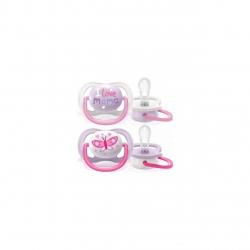 Set de 2 suzete Philips AVENT Ultra Air SCF080/02, 0-6 luni, Ortodontică, Fără BPA,