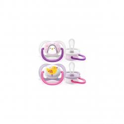 Set de 2 suzete Philips AVENT Ultra Air SCF080/06, 0-6 luni, Ortodontică, Fără BPA,