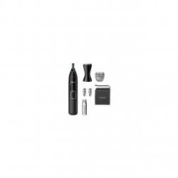 Trimmer pentru nas/urechi Philips NT5650/16, baterie, lavabil, utilizare umed si suscat, tehnologie Precision Trim, otel inoxidabil, pieptene pentru sprancene, 2 piepteni 3-5 mm, Negru
