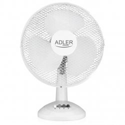 Ventilator de birou Adler AD 7303, 45 W, 30 cm diametru, 3 trepte de viteza, functie de oscilare, Alb