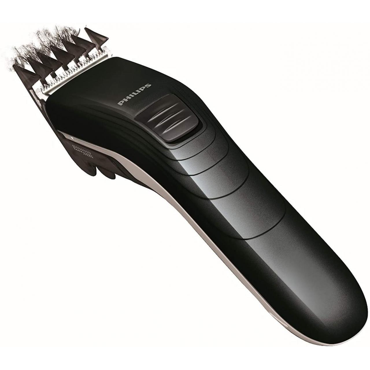 Aparat de tuns Philips QC5115/15, lame din otel inoxidabil, 10 setari de lungime, utilizare cu fir, Negru