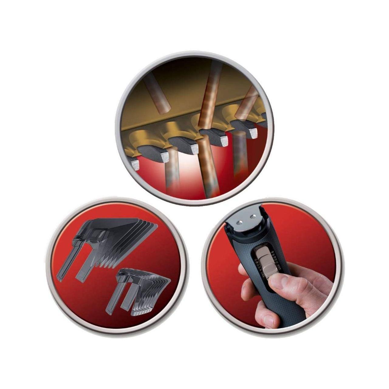 Aparat de tuns Remington Pro Power Titanium Plus HC7150, Li-Ion, 0.5-42 mm, lame titan, Negru/Argintiu