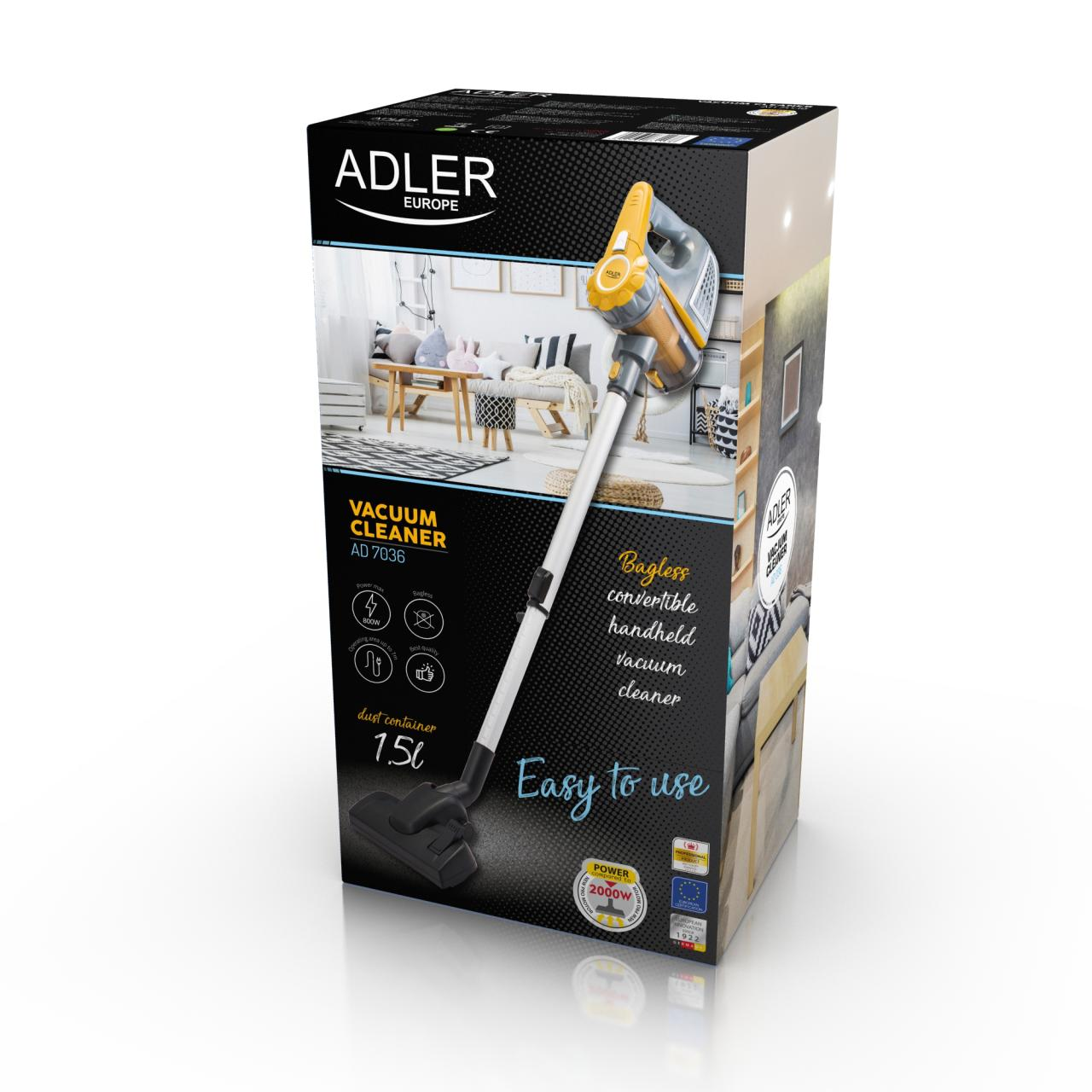 Aspirator de mana vertical Adler AD 7036, fara sac, Putere 800W, Filtru Lavabil, Cablu 7m, Alb/Auriu