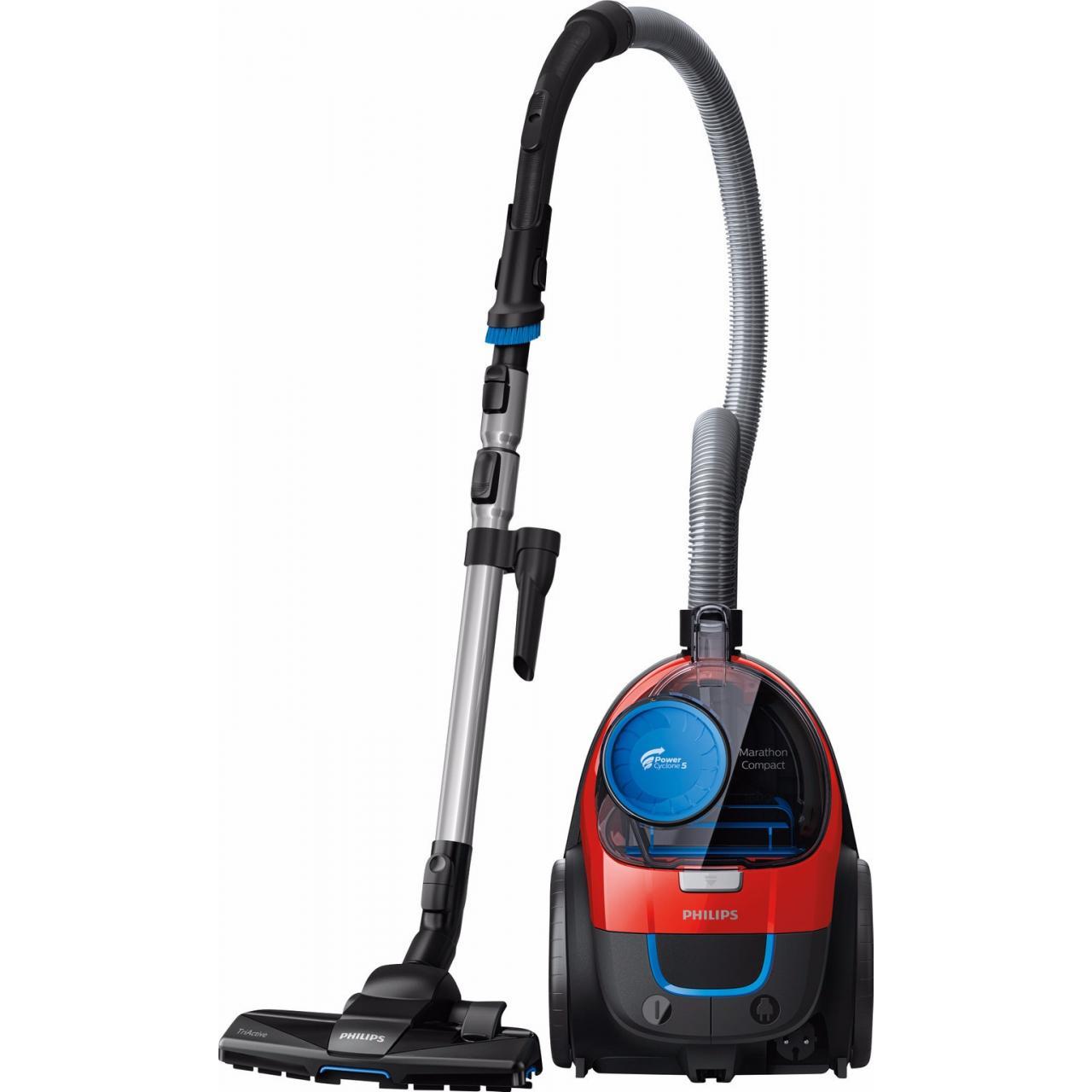 Aspirator fara sac Philips PowerPro Compact FC9330/09, PowerCyclone 5, Perii TriActive, Parchet, Filtru Anti-Alergic ECARF, Rosu