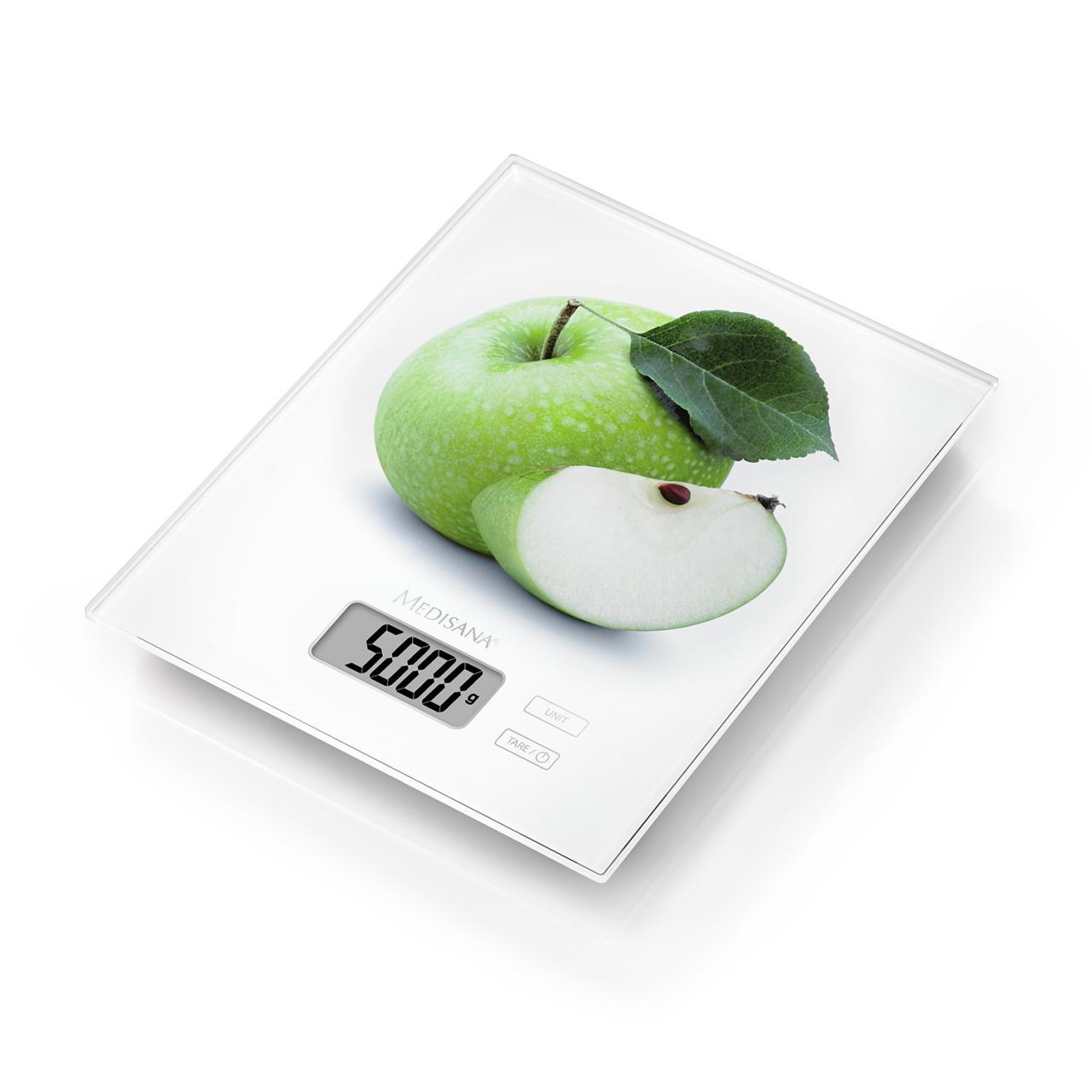 Cantar digital de bucatarie Medisana KS 210 40471 cu model mar, Ecran LCD, Picioare anti-alunecare, Indicator supraincarcare, 1-5kg, Alb