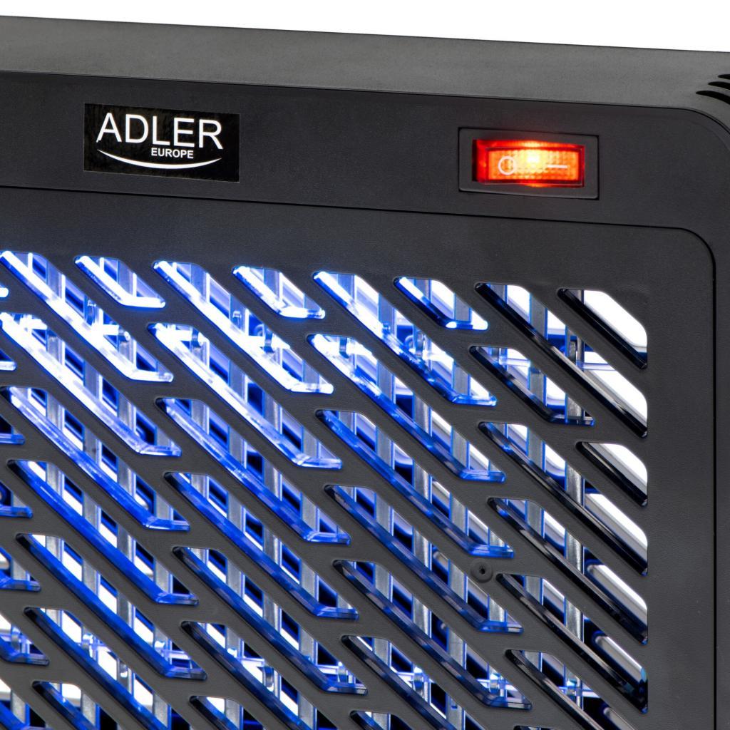 Lampa anti insecte pentru interior ADLER AD7938, 9W, lant pentru montare, tava pentru insecte, Negru