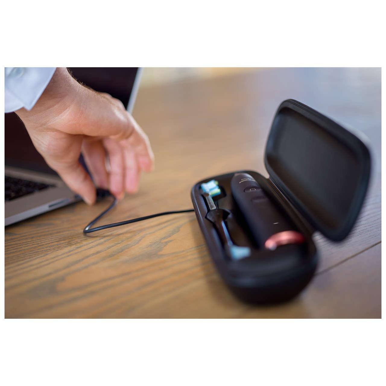 Periuta de dinti Philips Sonicare DiamondClean Smart HX9954/57, 3 capete de periere, Bluetooth, Tehnologie BrushPacer si SmarTimer, Senzor de presiune, Albastru