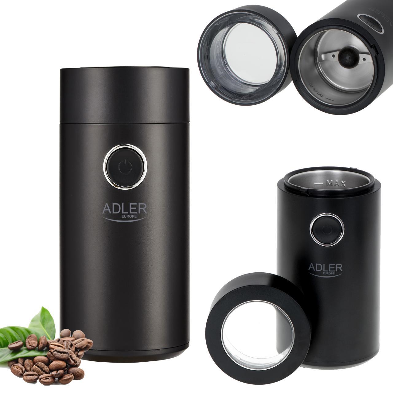 Rasnita de cafea Adler AD 4446bs, 75 g, putere 150 W, Negru/Argintiu