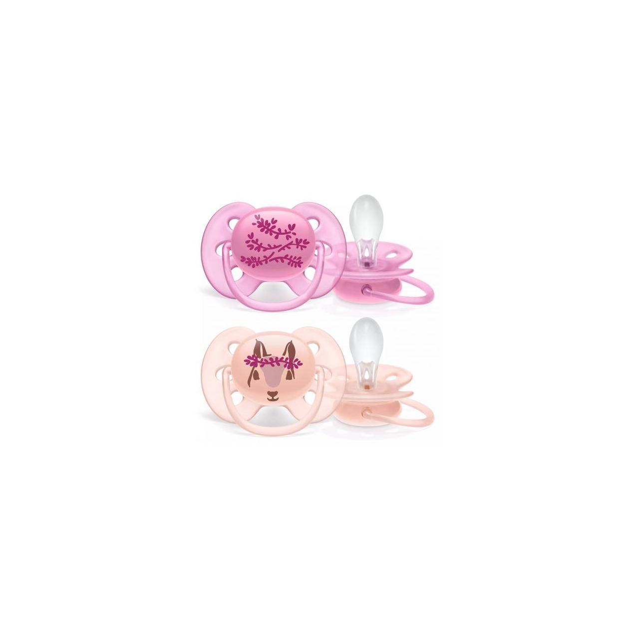 Set 2 suzete Philips-Avent SCF223/04, ultra soft 6-18 luni, Ortodontice, fara BPA, veverita roz
