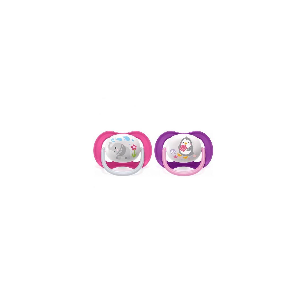 Set de 2 suzete Philips AVENT Ultra Air SCF080/08, 6-18 luni, Ortodontică, Fără BPA