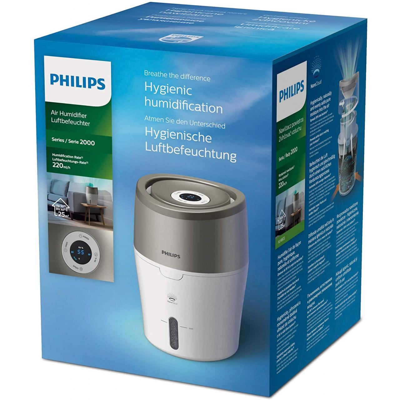Umidificator aer Philips HU4803/01, Tehnologie Nanocloud, Rezervor 2L, Alb/Gri